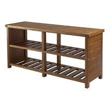 Entryway Bench With Rack Amazon Com Winsome Keystone Shoe Bench Kitchen U0026 Dining