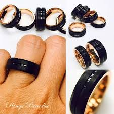 men tungsten rings images Mens tungsten ring rose gold ring black tungsten his promise jpg