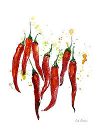 chili pepper home decor red chili pepper watercolor pepper graphics print poster wall