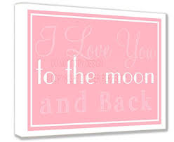 Pet Home Decor by Framed Canvas Print I Love You To The Moon And Back Pink