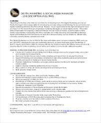 Sample Resume For Marketing Manager by Digital Marketing Job Description Digital Marketing Manager Job
