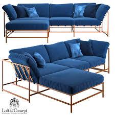 corner couch corner sofa indigo denim and copper sectional 3d model max obj fbx mtl