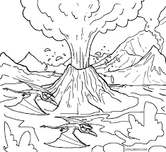 eruption volcano coloring pages free printable kids free