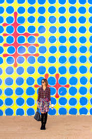 wear where well wall 48 blue graphic circles and zipper mural by circlesbyanita