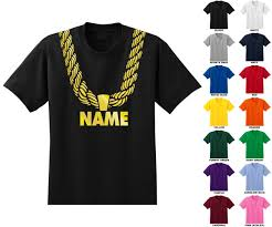custom personalized gold chain t shirt you choose the