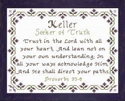 keller name blessings personalized cross stitch design cross