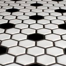 wonderful black and white hexagon bathroom tile for your modern