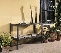 outdoor console table soho patio console table w lower shelf wicker weave