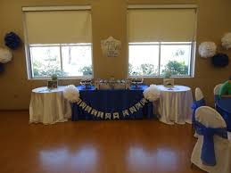 royal themed baby shower royal blue and white table clothes