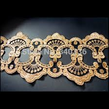1 yard ultra wide gold thread embroidery lace trim for sewing
