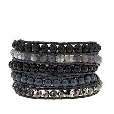 multi wrap bracelet images Chan luu black mixed stone black leather multi wrap bracelet jpg
