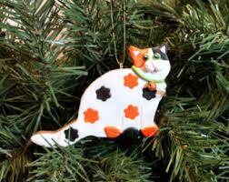 calico cat ornament etsy