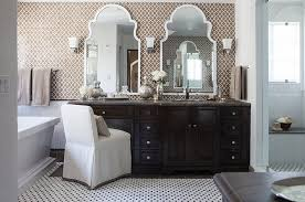 Mirror Bathroom Tiles Furniture Luxury Moroccan Bathroom With Black Vanity Cabinet And