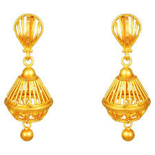 gold jhumka earrings buy tanishq 22 kt gold jhumka id 512714jqtaba00 for women titan
