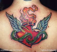 heart tattoo u2013 sweet n simple tribal sacred heart with angel wings