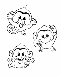 coloring pages baby monkeys coloring