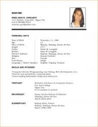 How To Type Resume For A Job by Examples Of Resumes 13 Model Cv For Job Application Basic