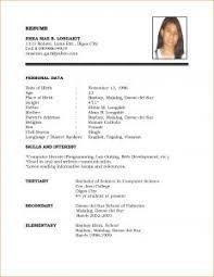 Sample Job Application Resume by Examples Of Resumes 13 Model Cv For Job Application Basic