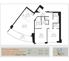 2 Bedroom Condo Floor Plan Floorplans Midtown Miami Residences