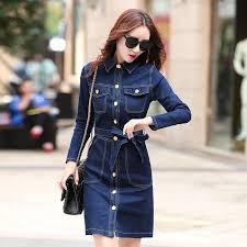 2016 fashion women u0027s clothing long sleeve denim dress casual denim