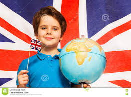 Standing Flag Banners Boy With Flag And Globe In Front Of British Banner Stock Photo
