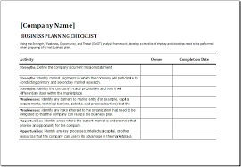 ms excel business planning checklist template excel templates