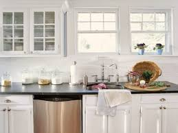 White Stain Kitchen Cabinets Interior Kitchen Sweet Subway White Tile Backsplash With Two