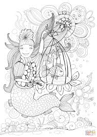 mermaid holding a cell with a speaking fish coloring page free