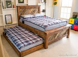 Trundle Bed Frame And Mattress Farmhouse Pallet Bed With Rolling Trundle Infarrantly Creative