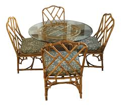Rattan Dining Table And Chairs Mid Century Modern Rattan Glass Dining Set Chairish