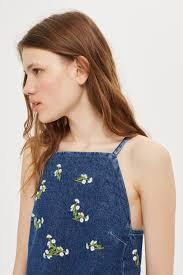 petite embroidered daisy denim mini dress topshop singapore