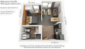 one bedroom floor plan of the new aggie apartments studio and