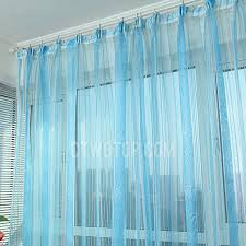 teal blue sheer curtains classic jacquard floral and stripe ice