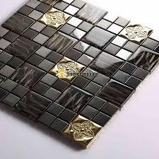 metal wall tiles kitchen backsplash aliexpress com buy black color glass mixed metal mosaic tiles