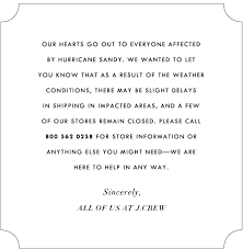 j crew a message for our customers milled