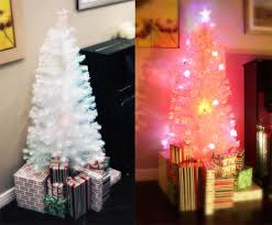 4 foot white christmas tree with colored lights 6 ft artificial white prelit multi color led fiber optic christmas