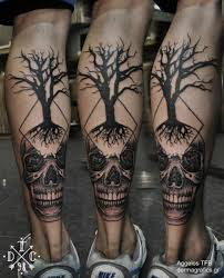 skull dotwork tree by dermagrafics