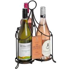 vintage rustic black metal three bottle wine carrier holder rack
