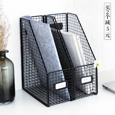 Desk Folder Organizer Vintage Office Paper Tray Metal Stationery Desk Organizer Mesh