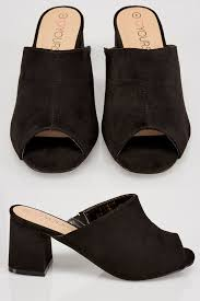 black comfort insole mule sandals with block heel in eee fit wide