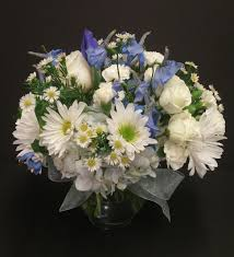 blue and white small arrangement light blue delphinium white