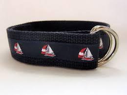 preppy ribbon belts canvas belt sailboat belt nautical d ring belt for boys and