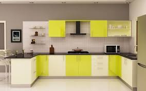 bright kitchen design with yellow color and white wall back to