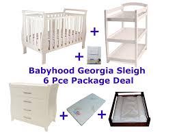 Bertini Change Table by Babyhood Georgia Sleigh Cot Luxx 6 Piece Package Deal Bubs N Grubs