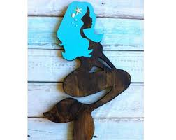 wooden mermaid wall wood mermaid etsy