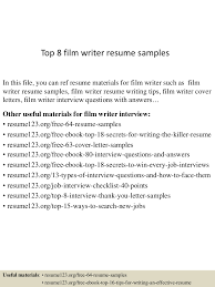 Resume Sample With Cover Letter by Top8filmwriterresumesamples 150606024729 Lva1 App6892 Thumbnail 4
