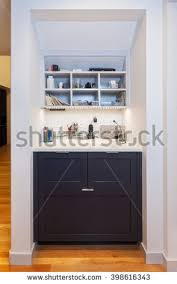 Desk With Charging Station Kitchen Desk Area Drawers File Cabinet Stock Photo 412665457
