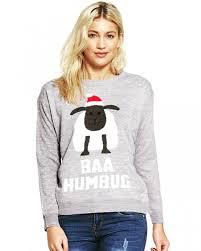 ladies grey baa humbug christmas jumper uk size 6 12 christmas