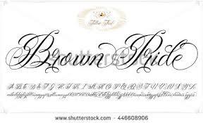 handmade vector calligraphy tattoo alphabet numbers stock vector