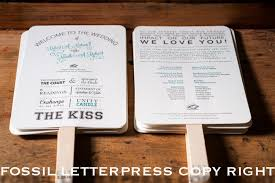 program fans destination wedding program fans fossil letterpress wedding